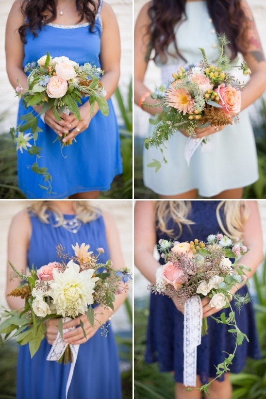 mix and match bridesmaids dresses and bouquets