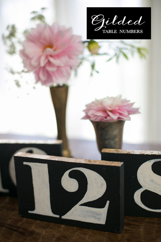 gilded table numbers diy