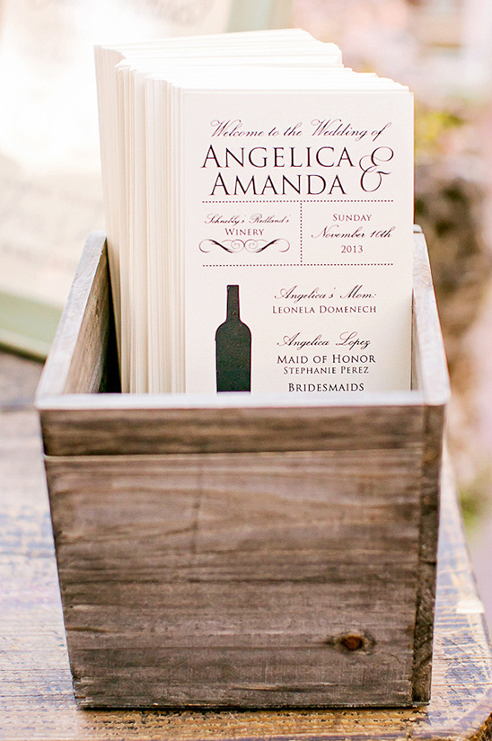 wedding programs in rustic box