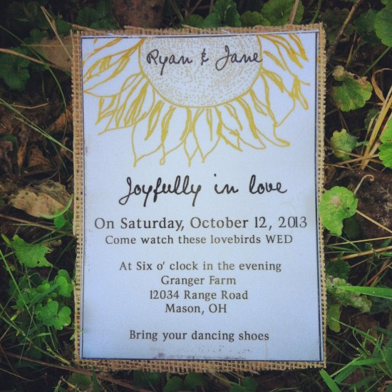 Summer Sunflower Wedding  Invitation with Natural burlap