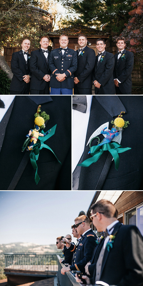 superhero boutonnieres for groomsmen