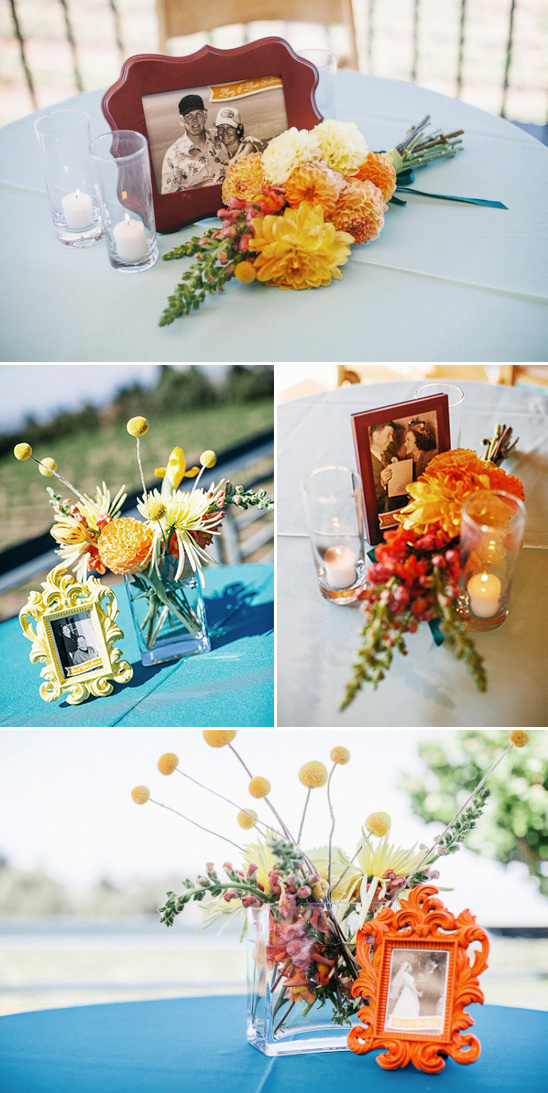 friends and family wedding photos as table decor