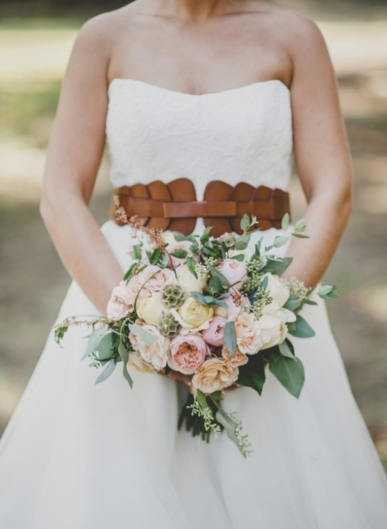 leather belt and bouquet
