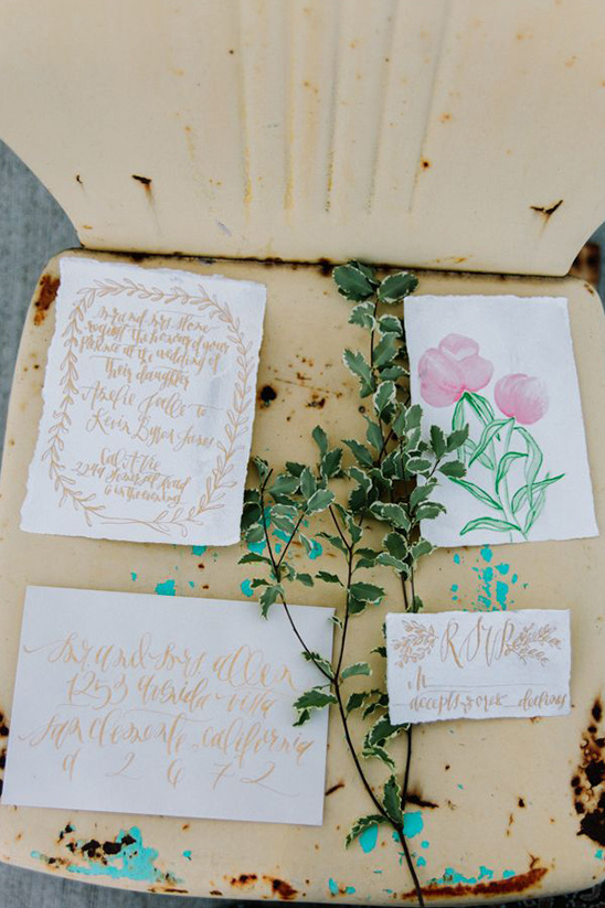 gold and white wedding stationery from mon voir