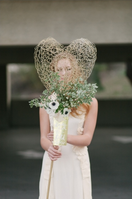 wired heart wedding bouquet
