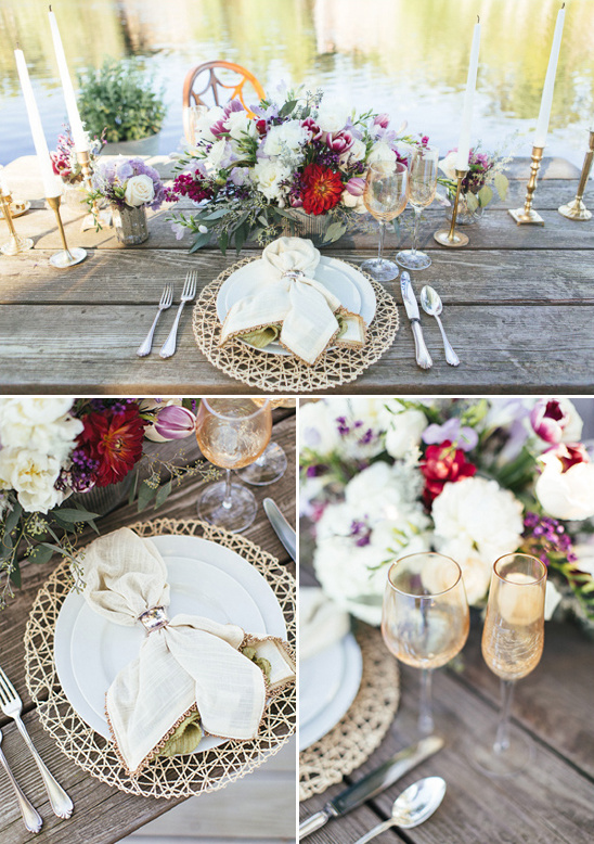 cream red and gold tablescape idea