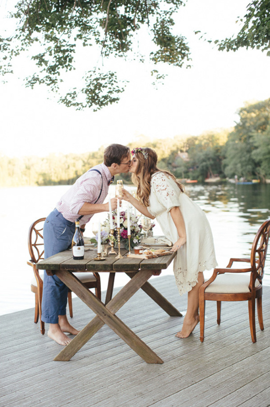 kissing over the reception table