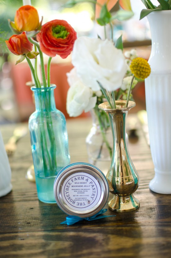 blue and brass vases as table decor