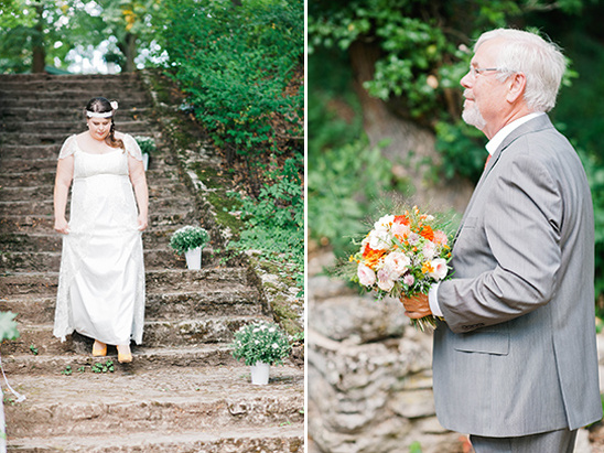 walking down the wedding staircase
