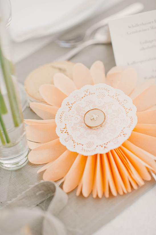 peach paper flower decor