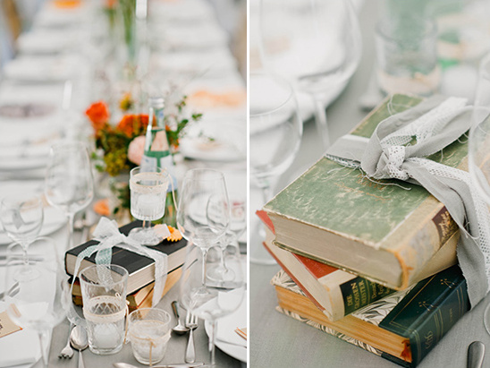using books in wedding decor