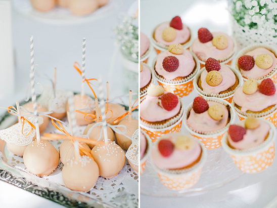 orange and pink wedding desserts