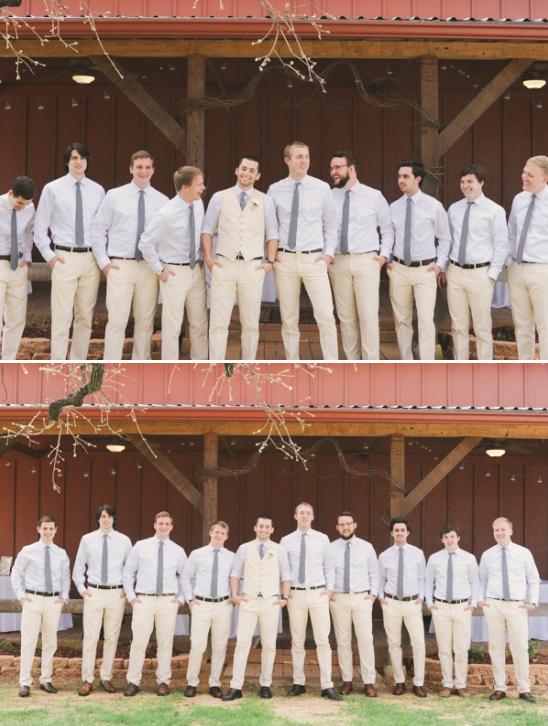 gray and cream relaxed groomsmen looks