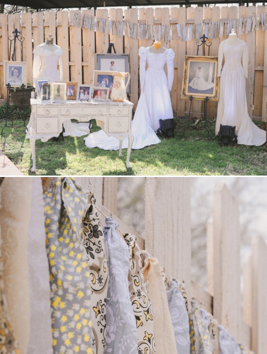 a row of bridal gowns to represent the past