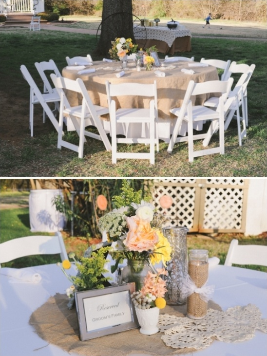 burlap and lace reception