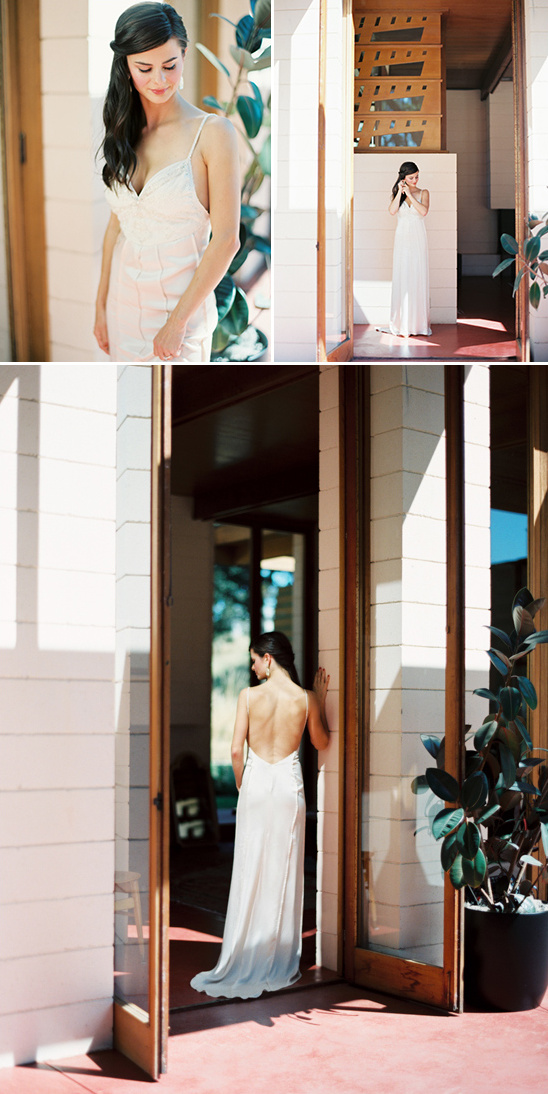 Wedding at the Gordon House in Silverton, Oregon. Top left: Bride centered in frame, looking down. Top right: Bride touches earring below Frank Lloyd Wright's fretwork designs. Below: Bride stands framed in open doorway looking over shoulder.