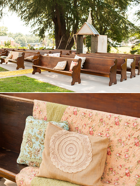 church pews at wedding