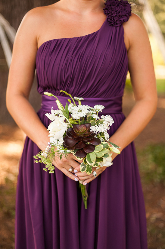 Grecian style dark purple bridesmaid dresses