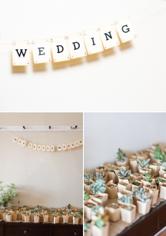 wee little wedding banner and succulent favors
