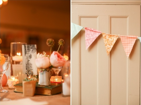 eclectic centerpieces and handmade bunting