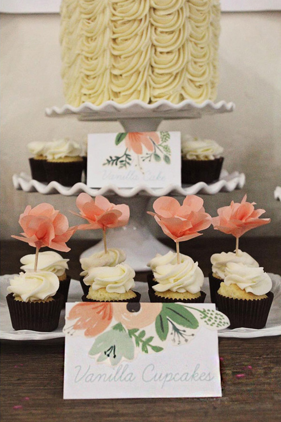 cute cupcake toppers with Rifle Paper Co wrapping paper tent cards