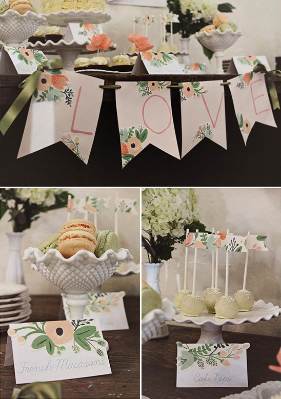 DIY love sign and cake pop flags