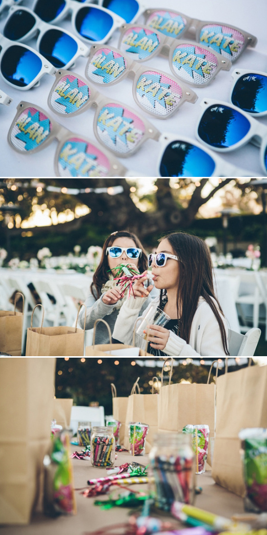 sunglasses favors and kids table