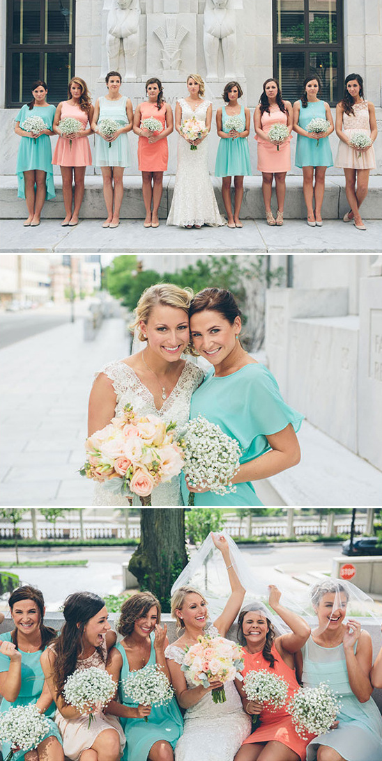 peach and teal bridesmaids dresses