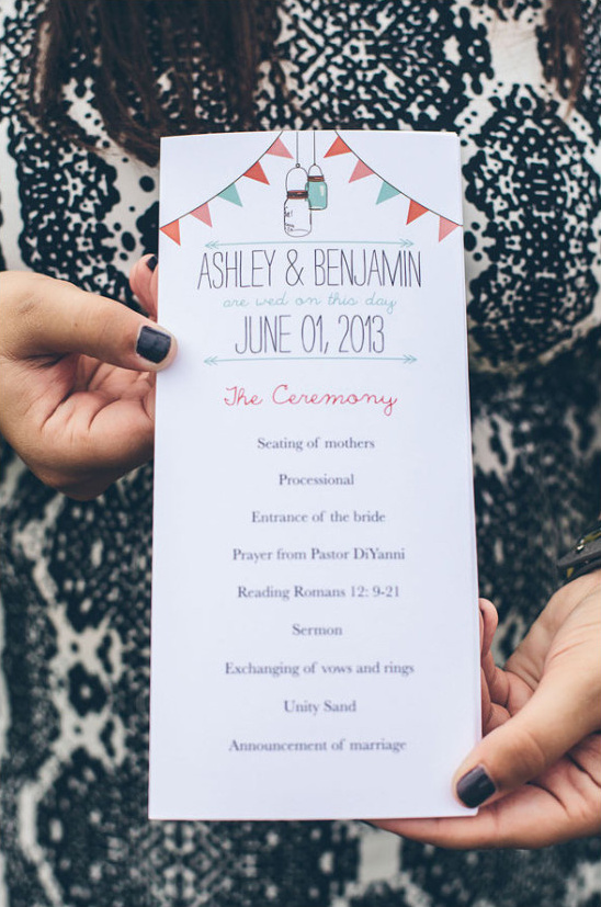 mason jar and bunting wedding programs