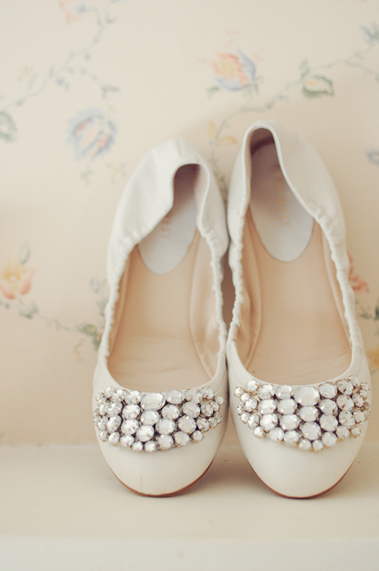 cream bejeweled wedding shoes
