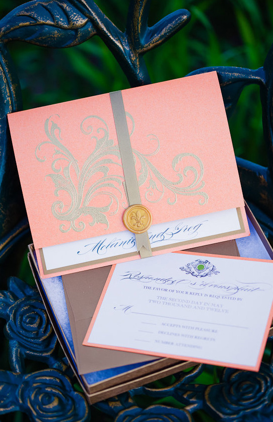 peach wedding invite