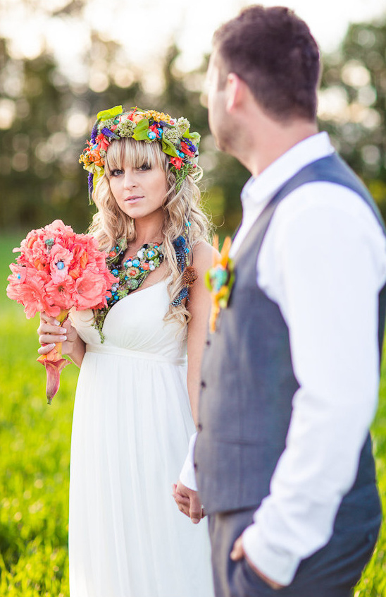 bright and colorful boho bridal looks