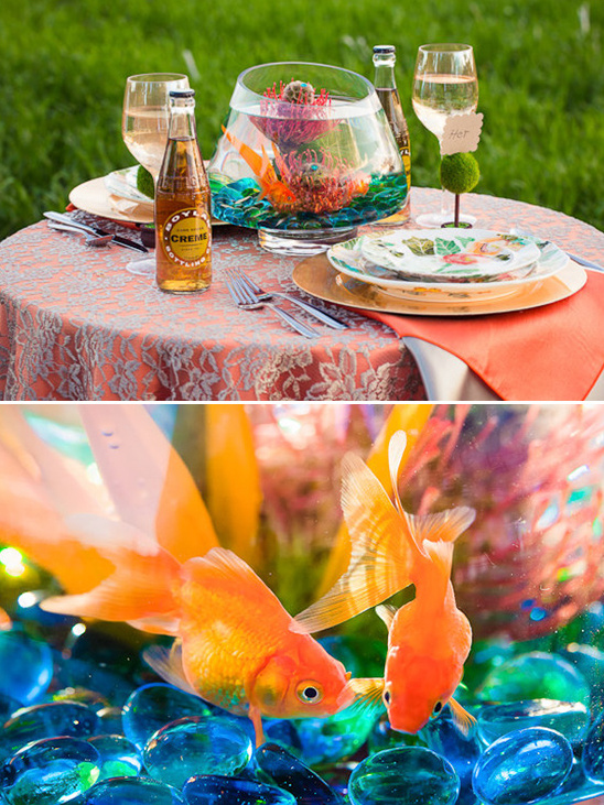 gold fish as a wedding centerpiece