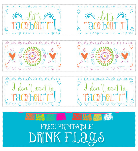 free printable drink flags
