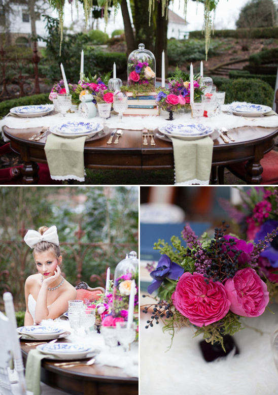 dfe26f84e99 alice in wonderland inspired tablescapes. purple and pink bridal shower  centerpieces