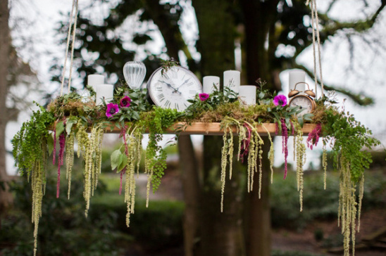 hanging floral and time piece decor