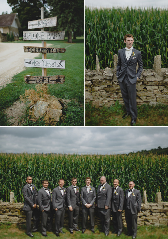 formal groom look and wedding sign