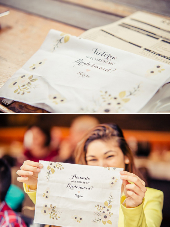 will you be my bridesmaid hankie