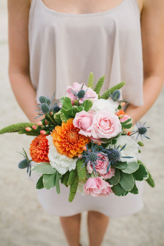 pink and orange bridesmaid bouquet