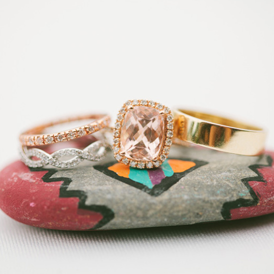 pink and gold wedding rings