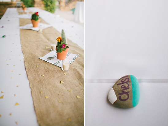painted rocks as place cards