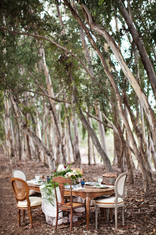 romantic table in the woods