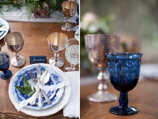 blue vintage table decor