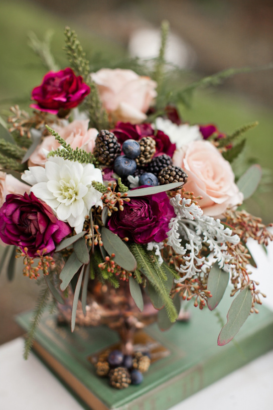 bright berry colored floral decor