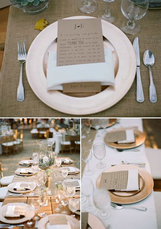 copper and brown paper table decor