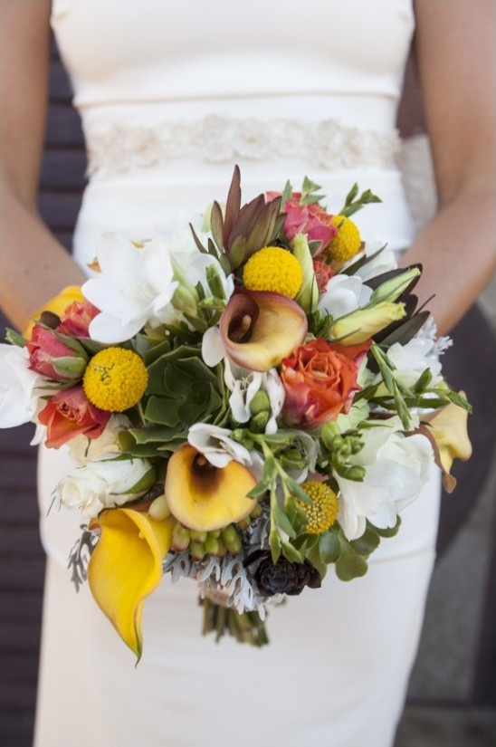 red yellow and green wedding bouquet