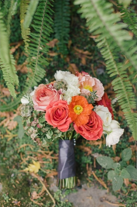 red pink and orange bridesmaid bouquet