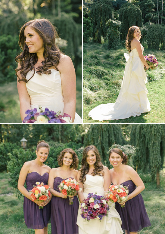 Amy Kuschel wedding dress and purple bridesmaids