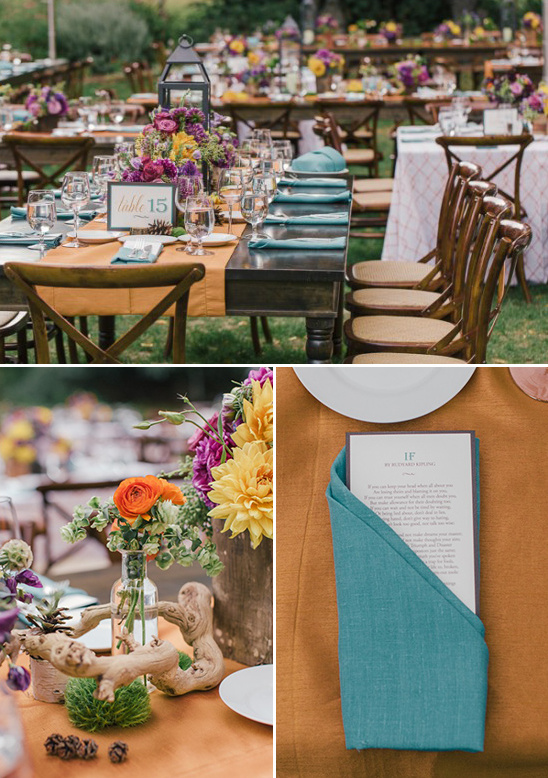 orange and teal reception decor