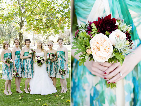 peach and red bridesmaid bouquets